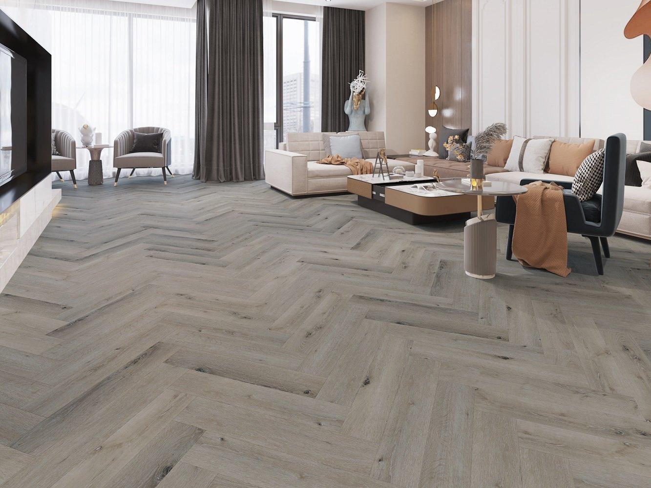 Alpha Floors Spc Rigid Click Visgraat Pvc Vloer Zacht Eiken Grijs 127 X 615