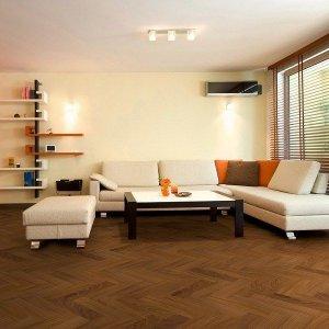 Afrormosia Visgraat vloer Inclusief Montage