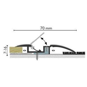 Kuberit Overgangsprofiel Zilver met kabelgoot 7-16x37mm, 2.70m
