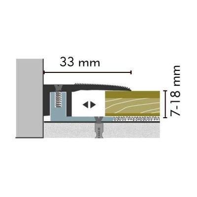 Kuberit Eind-en afwerkprofiel RVS 7-18 mm, 3 m