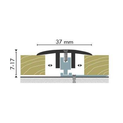 Kuberit Dilatatieprofiel Zilver 37mm 7-17 mm, 3 m