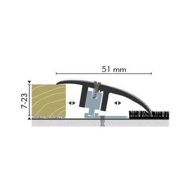 Kuberit Overgangsprofiel Zilver 7-23 x44mm, 1 m
