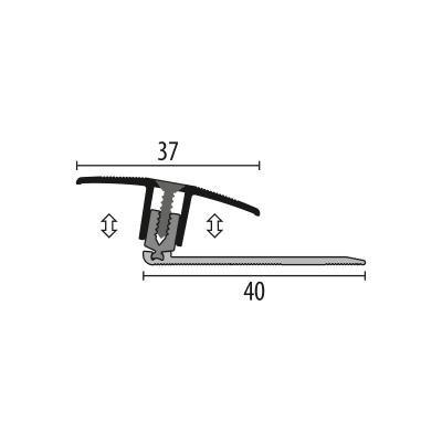 Kuberit Dilatatieprofiel RVS 37mm 7-17 mm, 1 m