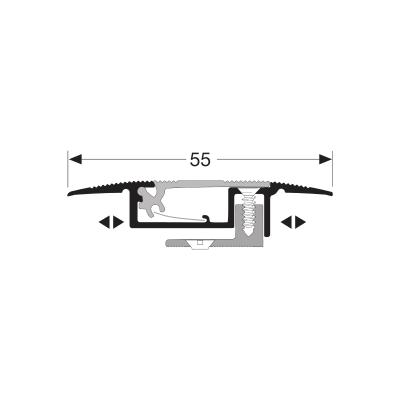 Kuberit Dilatatieprofiel RVS met kabelgoot 7-16 mm, 2.70m