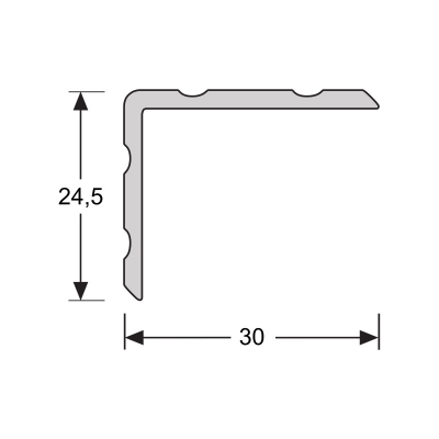 Duo-hoeklijnprofiel RVS 30x24,5mm, 2.70m