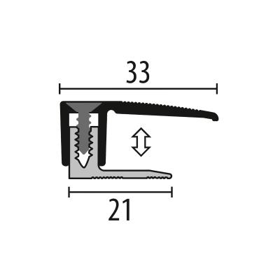 Kuberit Eind-en afwerkprofiel RVS 7-18 mm, 1 m