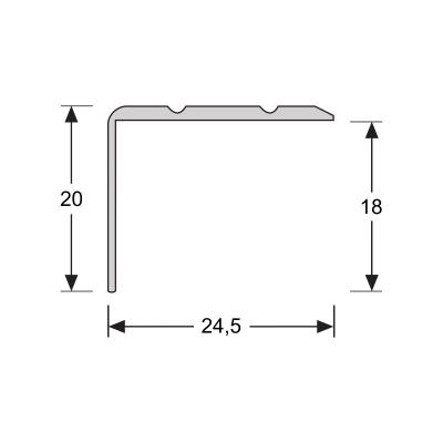 Hoeklijnprofiel Zilver 20 mm schroef, 2.70m