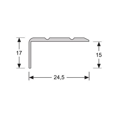 Hoeklijnprofiel RVS 17 mm zelfklevend, 2.70m