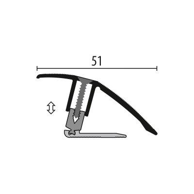 Kuberit Overgangsprofiel RVS 7-23x44mm, 3 m