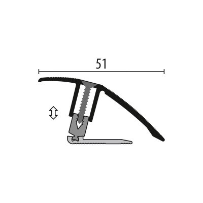 Kuberit Overgangsprofiel RVS 7-23x44mm, 1 m