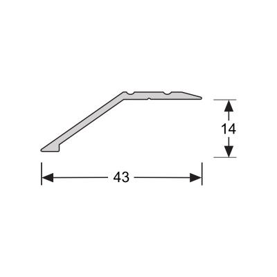 Overgangsprofiel Zilver 14x43mm alu schroef, 2.70m