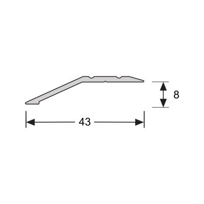 Overgangsprofiel Zilver 8x43mm alu schroef, 2.70m