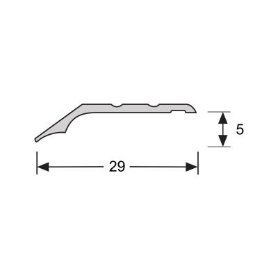 Overgangsprofiel Brons 5x28mm alu schroef, 2.70m