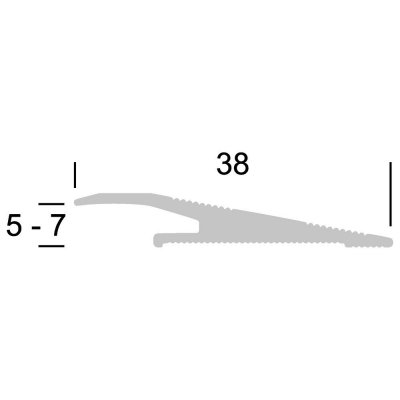 Overgangsprofiel RVS voor PVC 5-7 mm alu schroef, 2.70m