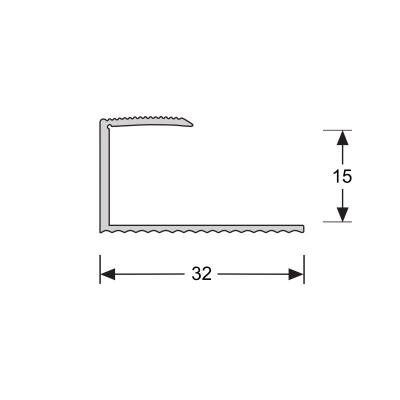 U-profiel Zilver 15,6 mm, 2.70m