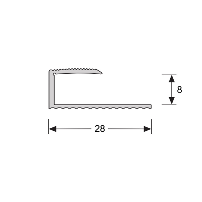 U-profiel Zilver 8,1 mm, 2.70m