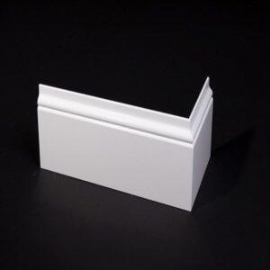 MDF Romantische plint, 120x15mm, 2.40 m1. Wit voorgelakt.